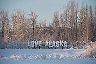 A Love Alaska sign in Fairbanks, Alaska
