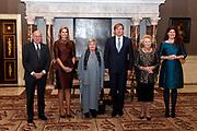 Koning Willem Alexander reikt Erasmusprijs 2016 uit aan  aan Britse schrijfster A.S. (Antonia Susan) Byatt.<br /> <br /> King Willem Alexander awards the  Erasmus Prize 2016 to British writer A.S. (Antonia Susan) Byatt.<br /> <br /> Op de foto / On the photo: <br />  Voorzitter SPE dr. M. Sanders, koningin Maxima, mevrouw A.S. Byatt, koning Willem-Alexander, prinses Beatrix en directeur SPE, mevrouw Van Dam <br /> <br /> SPE chairman Dr. M. Sanders, Queen Maxima, Ms. A.S. Byatt, King Willem-Alexander, Princess Beatrix and SPE director, Mrs Van Dam