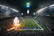 Fireworks light up CenturyLink Field before the Seahawks playoff game against Carolina, Saturday. Seattle won 31-17.