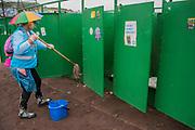 The Water Aid toilet cleaning brigade arrives- dirty work. The 2017 Glastonbury Festival, Worthy Farm. Glastonbury, 23 June 2017