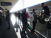 Translators gather at Wien Westbahnhof train station to assist migrants as they pass through Vienna, Austria, September 6 2015.  Hundreds of migrants have resumed their journey through Austria to Germany after Hungary's decision on Friday to let them through.