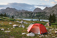 Red tent at Backcountry camp near Middle Fork Lake. Bridger Wilderness. Wind River Range, Wyoming