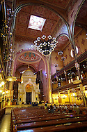 The interior of the Dohány Street  or Great Synagogue (nagy zsinagóga).  The Second largest Synagogue in the world built in Moorish Revival Style. Budapest, Hungary .<br /> <br /> Visit our HUNGARY HISTORIC PLACES PHOTO COLLECTIONS for more photos to download or buy as wall art prints https://funkystock.photoshelter.com/gallery-collection/Pictures-Images-of-Hungary-Photos-of-Hungarian-Historic-Landmark-Sites/C0000Te8AnPgxjRg