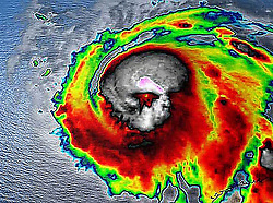 Oct 9, 2018 - Gulf Coast, U.S. - Image of skull in early Oct. 9, 2018, radar view of Hurricane Michael.  (Credit Image: © NOAA/ZUMA Wire)