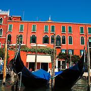 Anchored gondolas at grand canal