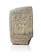 Ancient Egyptian stele of a bowman and his wife, limestone, First Intermediate Period, 7-11th Dynasty, (2118-1980 BC), Deir el-Medina, Schiaparelli cat 1273. Egyptian Museum, Turin. white background .<br /> <br /> If you prefer to buy from our ALAMY PHOTO LIBRARY  Collection visit : https://www.alamy.com/portfolio/paul-williams-funkystock/ancient-egyptian-art-artefacts.html  . Type -   Turin   - into the LOWER SEARCH WITHIN GALLERY box. Refine search by adding background colour, subject etc<br /> <br /> Visit our ANCIENT WORLD PHOTO COLLECTIONS for more photos to download or buy as wall art prints https://funkystock.photoshelter.com/gallery-collection/Ancient-World-Art-Antiquities-Historic-Sites-Pictures-Images-of/C00006u26yqSkDOM