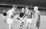 Captains shaking hands before the All Ireland Senior Gaelic Football Final Kerry v. Galway in Croke Park on the 26th September 1965.