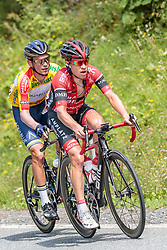 07.07.2017, St. Johann Alpendorf, AUT, Ö-Tour, Österreich Radrundfahrt 2017, 5. Kitzbühel - St. Johann/Alpendorf (212,5 km), im Bild Stefan Denifl (AUT, Aqua Blue Sport), Hermann Pernsteiner (AUT, Amplatz BMC) // Stefan Denifl (AUT, Aqua Blue Sport), Hermann Pernsteiner (AUT, Amplatz BMC) during the 5th stage from Kitzbuehel - St. Johann/Alpendorf (212,5 km) of 2017 Tour of Austria. St. Johann Alpendorf, Austria on 2017/07/07. EXPA Pictures © 2017, PhotoCredit: EXPA/ JFK