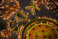 Varanasi, INDIA - CIRCA NOVEMBER 2018: Rangoli drawings during the Dev Deepawali celebrations in Varanasi. Varanasi is the spiritual capital of India, the holiest of the seven sacred cities and with that many rituals and offerings are performed daily by priests and hindus.