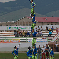 Acrobats perform at a Naadam festival in Zuunmod, Mongolia, near Ullanbaator.