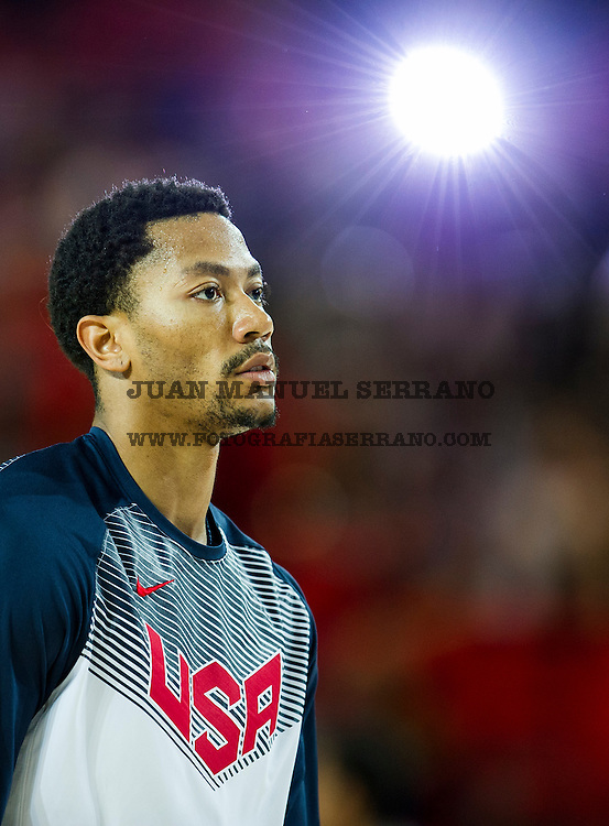 UNSPECIFIED, SPAIN - SEPTEMBER 02:  Derrick Rose #6 of the USA looks prior to playing a game against the New Zealand during their game at the Bilbao Exhibition Center on September 2, 2014 in Bilbao, Spain.  (Photo by Juan Manuel Serrano Arce/Getty Images)
