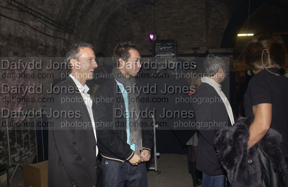 Patrick Cox and Dan Macmillan, De Beers, Talisman launch party. The Shunt Vaults, 20 Stainer Street, London, SE1, 28  November 2005. ONE TIME USE ONLY - DO NOT ARCHIVE  © Copyright Photograph by Dafydd Jones 66 Stockwell Park Rd. London SW9 0DA Tel 020 7733 0108 www.dafjones.com