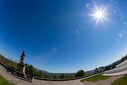 Roberty the Bruce statue. Empty Stirling Castle esplanade. Stirling area lockdown 6/5/2020.