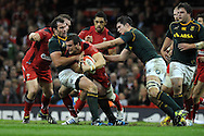 Wales capt Sam Warburton © is stopped by Willem Alberts of SA.  Autumn International rugby, 2013 Dove men series, Wales v South Africa at the Millennium Stadium in Cardiff,  South Wales on Saturday 9th November 2013. pic by Andrew Orchard, Andrew Orchard sports photography,
