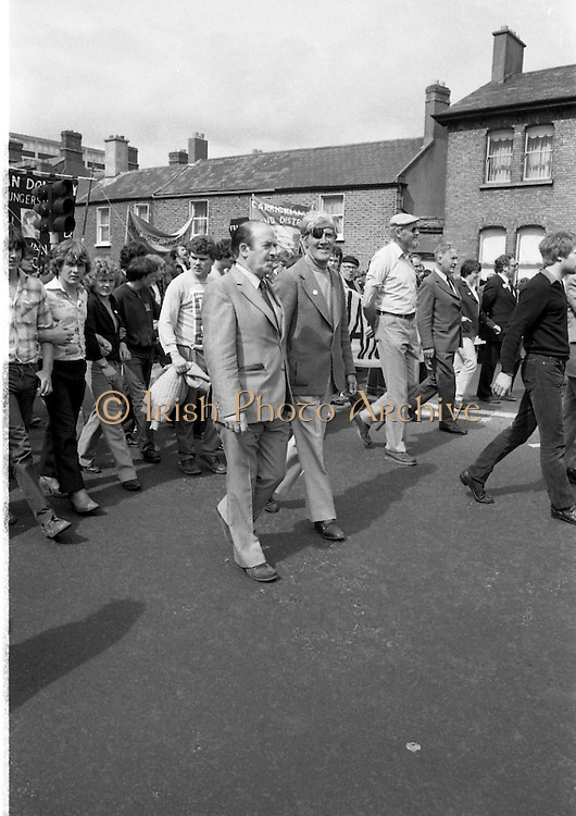 H-Block Protest To British Embassy.  (N86)..1981..18.07.1981..07.18.1981..18th July 1981..A protest march to demonstrate against the H-Blocks in Northern Ireland was held today in Dublin. After the death of several hunger strikers in the H-Blocks feelings were running very high. The protest march was to proceed to the British Embassy in Ballsbridge...Picture shows Mr Neil Blaney TD anfd mr Jerry Jones among the leaders at the H-Block Demonstration.