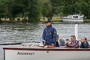 Henley Royal Regatta, Henley on Thames, Oxfordshire, 3-7 July 2013.  Wednesday  11:13:44   03/07/2013  [Mandatory Credit/Intersport Images]<br /> <br /> Rowing, Henley Reach, Henley Royal Regatta.<br /> <br /> Richard Stanhope, Umpire and Steward in the Launch Argonaut