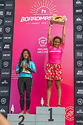 Alice Lemoigne (FRA) winner and Natsumi Took (JPN) Runner Up in the Ladies' Longboard Pro Final of Boardmasters 2019 at Fistral Beach, Newquay, Cornwall, United Kingdom on 11 August 2019.