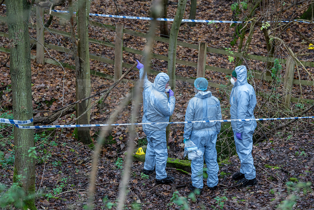 """© Licensed to London News Pictures. 07/12/2019. Gerrards Cross, UK. Forensic investigators look at a concrete pit indicated with an evidence identification marker as London's Metropolitan Police Service searches woodland in Gerrards Cross, Buckinghamshire. Police have been in the area conducting operations since Thursday 5th December 2019 and are searching two areas on Hedgerley Lane. In a press statement a Metropolitan Police spokesperson said """"Officers are currently in the Gerrards Cross area of Buckinghamshire as part of an ongoing investigation.<br /> """"We are not prepared to discuss further for operational reasons.""""<br /> Photo credit: Peter Manning/LNP"""