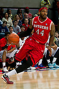 DALLAS, TX - JANUARY 21: J.J. Moore #44 of the Rutgers Scarlet Knights drives to the basket against the SMU Mustangs on January 21, 2014 at Moody Coliseum in Dallas, Texas.  (Photo by Cooper Neill/Getty Images) *** Local Caption *** J.J. Moore