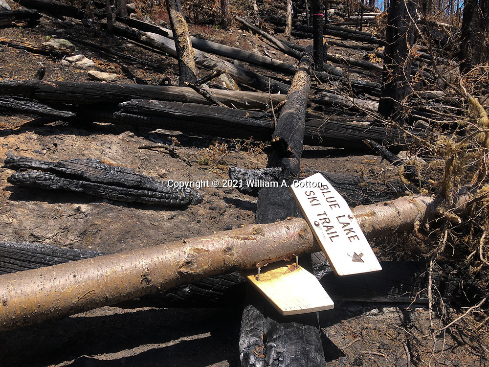 A Blue Lake Trail sign has fallen, June 8, 2021 after the Cameron Peak Fire the previous year.