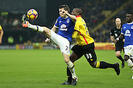 Seamus Coleman of Everton is challenged by Stefano Okaka Chuka of Watford. Premier league match, Watford v Everton at Vicarage Road in Watford, London on Saturday 10th December 2016.<br /> pic by John Patrick Fletcher, Andrew Orchard sports photography.
