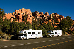 Recreational Vehicles, RVs, Red Canyon in, Dixie National Forest between Bryce Canyon National Park and Zion National Park, Utah, UT, rock formation, landform, arid, Southwest America, American Southwest, US, United States, Image ut421-17636, Photo copyright: Lee Foster, www.fostertravel.com, lee@fostertravel.com, 510-549-2202