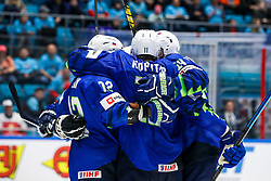 Players of Slovenia celebrate during ice hockey match between Slovenia and Kazakhstan at IIHF World Championship DIV. I Group A Kazakhstan 2019, on April 29, 2019 in Barys Arena, Nur-Sultan, Kazakhstan. Photo by Matic Klansek Velej / Sportida