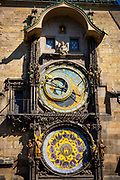 The Prague Astronomical Clock located at the Old Town Hall in Prague, Czech Republic. Known as the Orloj – where, every hour between 9 am and 11 pm, the twelve apostles appear