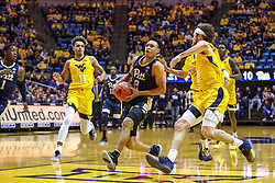 Dec 8, 2018; Morgantown, WV, USA; Pittsburgh Panthers guard Trey McGowens (2) drives down the lane during the first half against the West Virginia Mountaineers at WVU Coliseum. Mandatory Credit: Ben Queen-USA TODAY Sports
