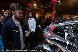 """Live the Night Faster"" party hosted by Yamaha at the Officine del Volo during EICMA, the largest international motorcycle exhibition in the world. Milan, Italy. November 17, 2015.  Photography ©2015 Michael Lichter."