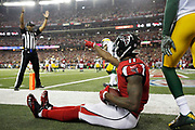Atlanta Falcons wide receiver Julio Jones (11) scores a touchdown during the NFL football NFC championship game against the Green Bay Packers, Sunday, Jan. 22, 2017, in Atlanta. The Falcons defeated the Packers 44-21. (Ryan Kang/NFL)