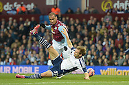Craig Dawson of West Bromwich Albion blocking Gabriel Agbonlahor of Aston Villa from shooting. The FA cup, 6th round match, Aston Villa v West Bromwich Albion at Villa Park in Birmingham, Midlands on Saturday 7th March 2015<br /> pic by John Patrick Fletcher, Andrew Orchard sports photography.