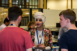 Pictured: PhD Civil engineering student Danah Saraireh was on hand to help the school students build bridges<br /> Minister for Higher Education, Shirley-Anne Somerville ,MSP, visited Heriot-Watt universiry today and met S5 and S6 pupils from Edinburgh, Forth Valley, Fife and the Lothians taking part in a week of activities to give them an idea what life at a university might be like.<br /> Ger Harley | EEm 26 July  2017