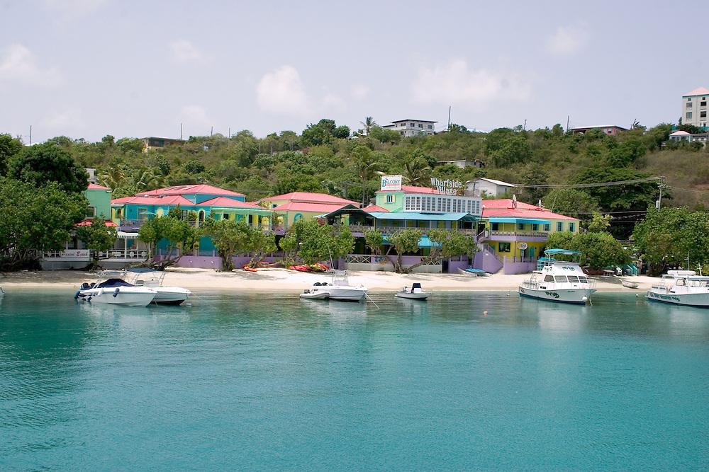 Waterside Village in Cruz Bay Harbor, St. John, U.S. Virgin Islands.