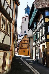 Detail of old half timbered house in Bauxwiller, Alsace, France<br /> <br /> (c) Andrew Wilson   Edinburgh Elite media