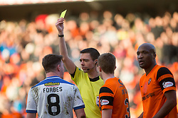 Morton's Ross Forbes gets a yellow card from Ref Kevin Clancy. Dundee United 1 v 1 Morton, Scottish Championship game played 25/2/2017 at Tannadice Park.