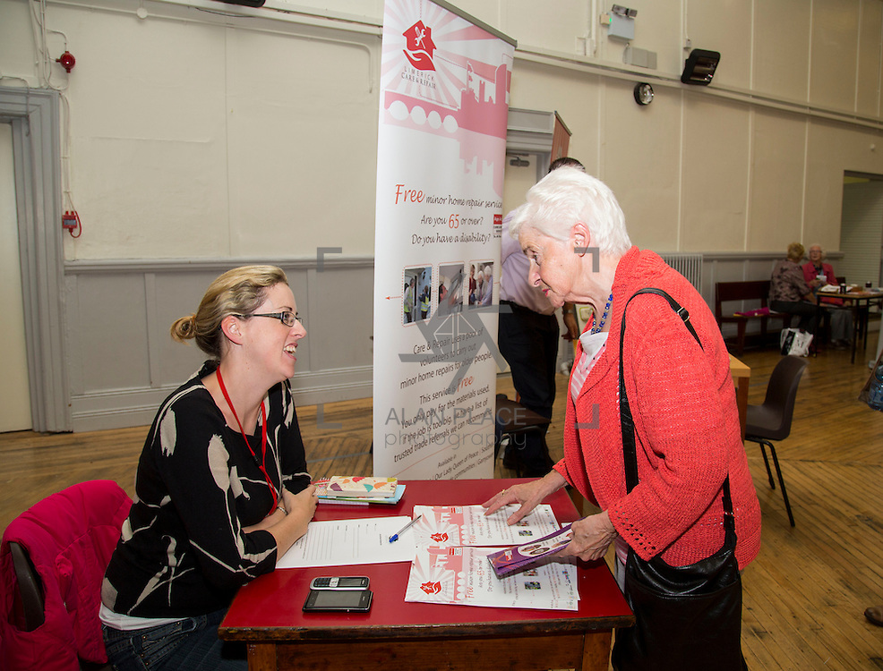 01.10.14            <br /> The Limerick City Community Safety Partnership will host a Safety Information Day for Older People. The event will feature important personal and home safety information for older people. Nutritional advice, occupational therapy, and care and repair demonstrations will also be provided. Advice and literature on a range of issues will be provided on the day by agencies including An Garda Síochána, Limerick City and County Council, Home Instead Senior Care, Limerick Fire and Rescue Service and the HSE. <br /> Attending the event at St. Johns Pavilion were, Iris Mockler, Care and Repair with Eileen Quinn, Holy Family Parish. Picture: Alan Place.
