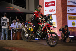 LIMA, Jan. 7, 2019  Portuguese rider Paulo Goncalves of Monster Energy Honda team leaves the podium during the departure ceremony at the 2019 Dakar Rally Race, Lima, Peru, on Jan. 6, 2019. The 41st edition of Dakar Rally Race kicked off in Lima, Peru. (Credit Image: © Xinhua via ZUMA Wire)