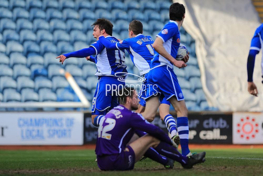 Niall Canavan celebrates 2-2 during the Sky Bet League 1 match between Rochdale and Doncaster Rovers at Spotland, Rochdale, England on 2 April 2016. Photo by Daniel Youngs.