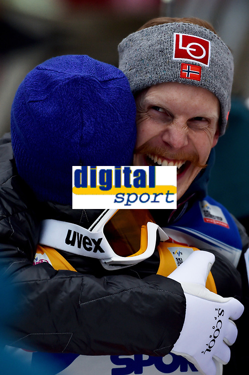 INNSBRUCK,AUSTRIA,04.JAN.17 - NORDIC SKIING, SKI JUMPING - FIS World Cup, Four Hills Tournament, large hill. Image shows the rejoicing of Daniel Andre Tande and Robert Johansson (NOR). <br /> <br /> Norway only