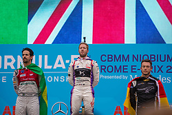 April 14, 2018 - Rome, RM, Italy - The Podium with S. Bird of Virgin Racing 1st place, L. Di Grassi of Audi Sport 2nd place and A. Lotterer of Techeetha Racing 3th place of the Rome E-Prix Round 7 as part of the ABB FIA Formula E Championship on April 14, 2018 in Rome, Italy. (Credit Image: © Danilo Di Giovanni/NurPhoto via ZUMA Press)