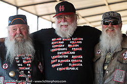 Chopper and Slider Gilmore with Bore at a Sons of Silence MC party during the 78th annual Sturgis Motorcycle Rally. Sturgis, SD. USA. Wednesday August 8, 2018. Photography ©2018 Michael Lichter.