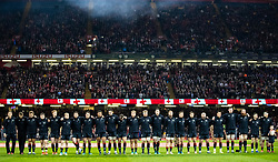 Wales players line up for the anthems<br /> <br /> Photographer Simon King/Replay Images<br /> <br /> Under Armour Series - Wales v Tonga - Saturday 17th November 2018 - Principality Stadium - Cardiff<br /> <br /> World Copyright © Replay Images . All rights reserved. info@replayimages.co.uk - http://replayimages.co.uk