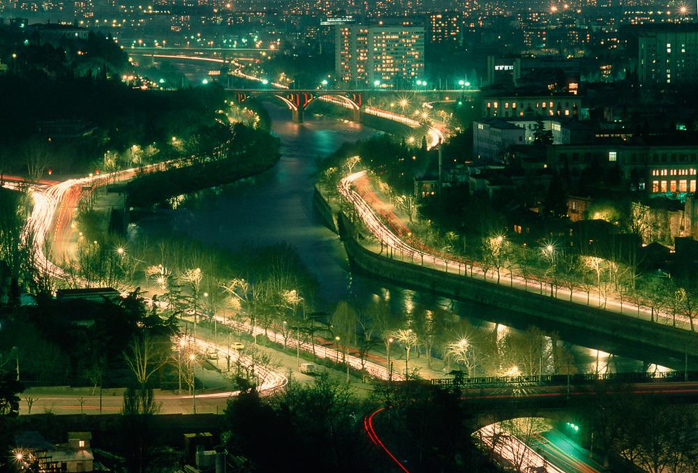 Night scene, Tbilisi, Capital City of the Country of Georgia, 1990