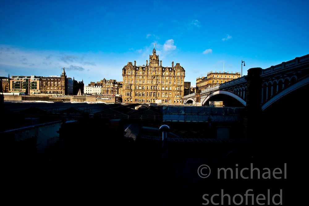 The Balmoral, a luxury five-star hotel and landmark in Edinburgh, Scotland, was known as the North British Hotel until the late 1980's. It's location is in the heart of the city, at the east end of Princes Street..Pic © Michael Schofield.
