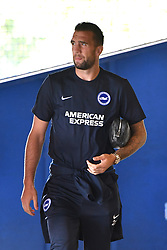 """Brighton & Hove Albion's Shane Duffy arrives ahead of the pre-season friendly match at the St Andrew's Trillion Trophy Stadium, Birmingham. PRESS ASSOCIATION Photo. Picture date: Saturday July 28, 2018. See PA story SOCCER Birmingham. Photo credit should read: Anthony Devlin/PA Wire. RESTRICTIONS: EDITORIAL USE ONLY No use with unauthorised audio, video, data, fixture lists, club/league logos or """"live"""" services. Online in-match use limited to 75 images, no video emulation. No use in betting, games or single club/league/player publications."""
