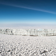 Glaciers of ice are permanently on the summit of Mt Kilimanjaro, although they are diminishing rapidly with climate change.