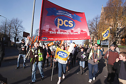 PCS members with banners at demonstration against pension cuts, Nottingham 30th November 2011