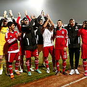 Besiktas's players celebrate victory during their Turkish Superleague soccer match SB Elazigspor between Besiktas at the Ataturk Stadium in Elazig Turkey on Saturday, 09 February 2013. Photo by Aykut AKICI/TURKPIX
