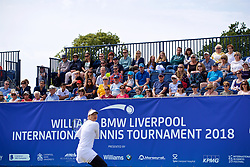 LIVERPOOL, ENGLAND - Saturday, June 23, 2018: Spectators watch Vera Zvonareva (RUS) during day three of the Williams BMW Liverpool International Tennis Tournament 2018 at Aigburth Cricket Club. (Pic by Paul Greenwood/Propaganda)